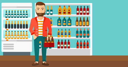 cartoon bottle: A hipster man with the beard standing in the supermarket and holding a pack of beer vector flat design illustration. Horizontal layout.