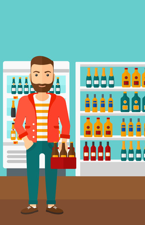 intoxicant: A hipster man with the beard standing in the supermarket and holding a pack of beer vector flat design illustration. Vertical layout. Illustration