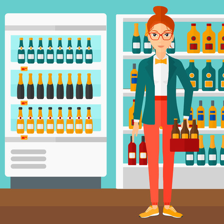 intoxicant: A woman standing in the supermarket and holding a pack of beer vector flat design illustration. Square layout. Illustration
