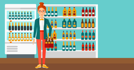 intoxicant: A woman standing in the supermarket and holding a pack of beer vector flat design illustration. Horizontal layout.
