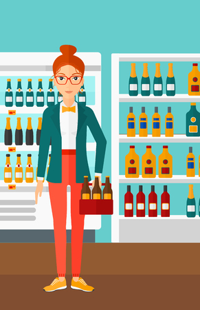 intoxicant: A woman standing in the supermarket and holding a pack of beer vector flat design illustration. Vertical layout. Illustration