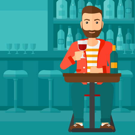 relaxed: A hipster man with the beard sitting at the bar and drinking wine vector flat design illustration. Square layout. Illustration