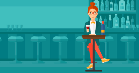 woman drinking wine: A woman sitting at the bar and drinking wine vector flat design illustration. Horizontal layout. Illustration
