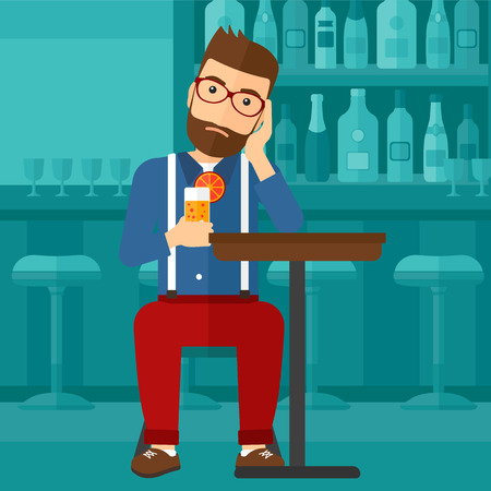 A sad man sitting at the bar with a glass of juice vector flat design illustration. Horizontal layout. 일러스트