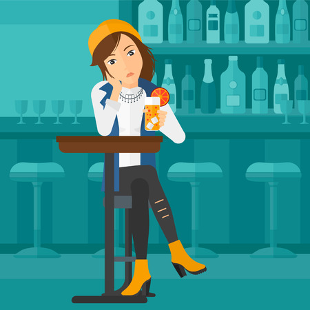 sad lonely girl: A sad woman sitting at the bar with a glass of juice vector flat design illustration. Square layout. Illustration