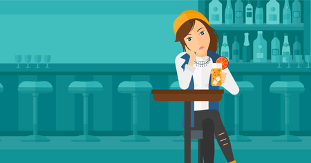solitude: A sad woman sitting at the bar with a glass of juice vector flat design illustration. Horizontal layout. Illustration