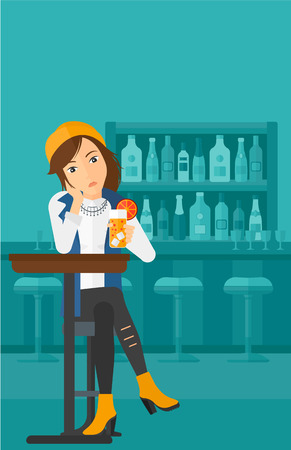A sad woman sitting at the bar with a glass of juice vector flat design illustration. Vertical layout. Illustration