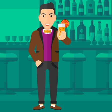 clang: A cheerful man standing at the bar and holding a glass of juice vector flat design illustration. Square layout. Illustration