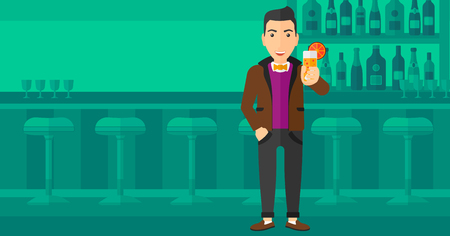 cartoon bottle: A cheerful man standing at the bar and holding a glass of juice vector flat design illustration. Horizontal layout. Illustration