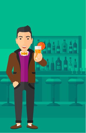 clang: A cheerful man standing at the bar and holding a glass of juice vector flat design illustration. Vertical layout. Illustration