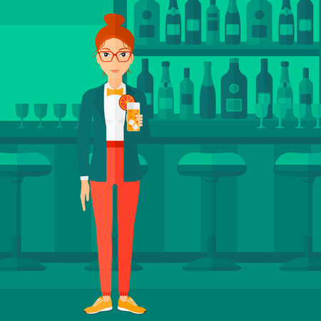 clang: A cheerful woman standing at the bar and holding a glass of juice vector flat design illustration. Square layout.