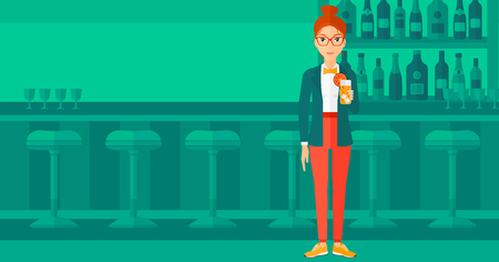 clang: A cheerful woman standing at the bar and holding a glass of juice vector flat design illustration. Horizontal layout.