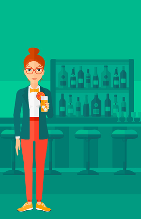 clang: A cheerful woman standing at the bar and holding a glass of juice vector flat design illustration. Vertical layout.