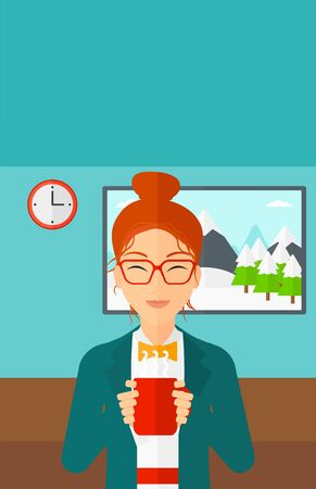 tasteful: A smiling woman standing in living room and drinking hot flavored coffee vector flat design illustration. Vertical layout. Illustration