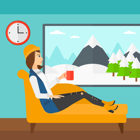 A woman lying on sofa in living room and holding a cup of hot flavored tea vector flat design illustration. Square layout.