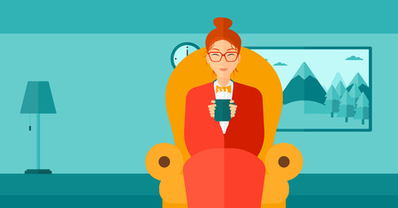 wrap wrapped: A woman wrapped into a plaid sitting in chair in living room and holding a cup of hot flavored tea vector flat design illustration. Horizontal layout. Illustration