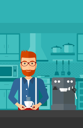 preparing: A hipster man with the beard preparing coffee with coffee-machine on a kitchen background vector flat design illustration . Vertical layout.