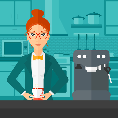 A smiling woman preparing coffee with coffee-machine on a kitchen background vector flat design illustration . Square layout. Illustration