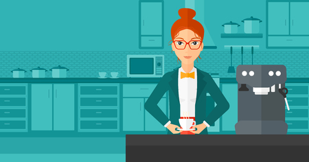 A smiling woman preparing coffee with coffee-machine on a kitchen background vector flat design illustration . Horizontal layout. 向量圖像
