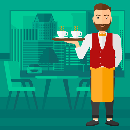 lenght: A hipster waiter with the beard standing at the bar and holding a tray with cups of tea or coffee vector flat design illustration. Square layout.