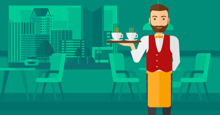 lenght: A hipster waiter with the beard standing at the bar and holding a tray with cups of tea or coffee vector flat design illustration. Horizontal layout.