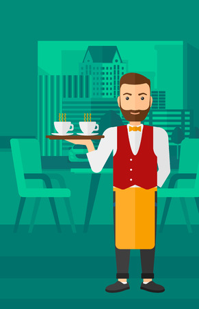 A hipster waiter with the beard standing at the bar and holding a tray with cups of tea or coffee vector flat design illustration. Vertical layout.  イラスト・ベクター素材