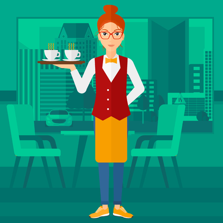 A charming waiteress standing at the bar and holding a tray with cups of tea or coffee vector flat design illustration. Square layout. Illustration