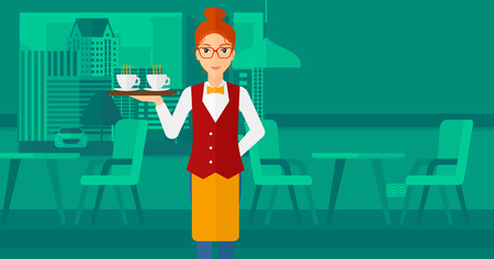 lenght: A charming waiteress standing at the bar and holding a tray with cups of tea or coffee vector flat design illustration. Horizontal layout.