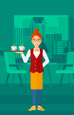 lenght: A charming waiteress standing at the bar and holding a tray with cups of tea or coffee vector flat design illustration. Vertical layout.