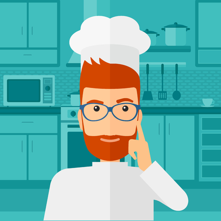 forefinger: A cheerful chief-cooker in uniform standing in the kitchen and pointing forefinger up vector flat design illustration. Square layout.