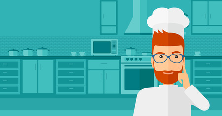forefinger: A cheerful chief-cooker in uniform standing in the kitchen and pointing forefinger up vector flat design illustration. Horizontal layout.
