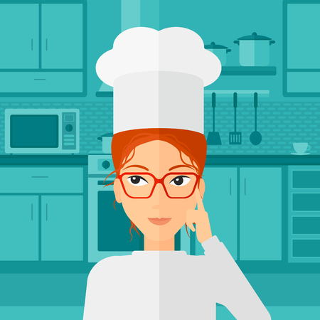 A cheerful chief-cooker in uniform standing in the kitchen and pointing forefinger up vector flat design illustration. Square layout.