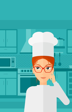forefinger: A cheerful chief-cooker in uniform standing in the kitchen and pointing forefinger up vector flat design illustration. Vertical layout. Illustration