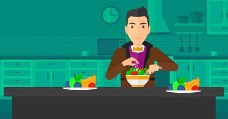 prepare: A man standing in the kitchen and cooking vegetable salad vector flat design illustration. Horizontal layout. Illustration