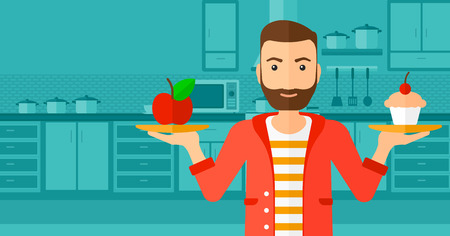 eat cartoon: A hipster man with the beard standing in the kitchen with apple and cake in hands symbolizing choice between healthy and unhealthy food vector flat design illustration. Horizontal layout.