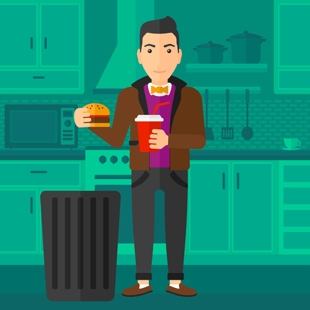 A man standing in the kitchen and putting junk food into a trash bin vector flat design illustration. Square layout.