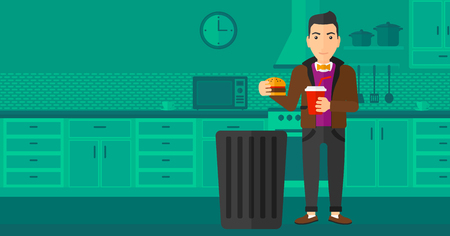 A man standing in the kitchen and putting junk food into a trash bin vector flat design illustration. Horizontal layout. Vettoriali