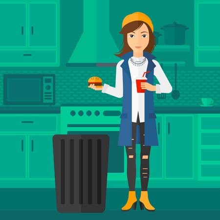 A woman standing in the kitchen and putting junk food into a trash bin vector flat design illustration. Square layout.