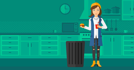 A woman standing in the kitchen and putting junk food into a trash bin vector flat design illustration. Horizontal layout.