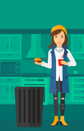 A woman standing in the kitchen and putting junk food into a trash bin vector flat design illustration. Vertical layout. Vettoriali