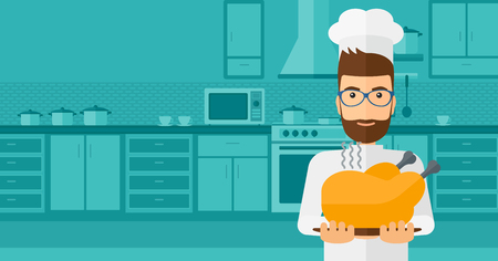 vapour: A chef stnding in the kitchen and holding a plate with a hot chicken vector flat design illustration. Horizontal layout.
