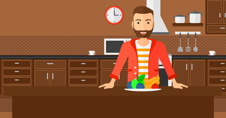 eat cartoon: A hipster man with the beard standing in the kitchen in front of table full of organic healthy food vector flat design illustration. Horizontal layout.