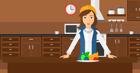 A woman standing in the kitchen in front of table full of organic healthy food vector flat design illustration. Horizontal layout.