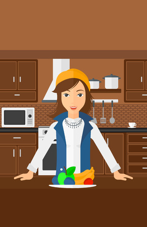 woman eating: A woman standing in the kitchen in front of table full of organic healthy food vector flat design illustration. Vertical layout.