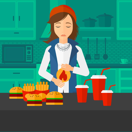 fire in the belly: A woman standing in the kitchen in front of table full of junk food and suffering from heartburn vector flat design illustration. Square layout.