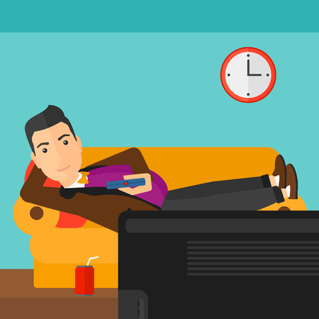 A man lying on a sofa and watching tv with a remote control in his hand and soda on the floor vector flat design illustration. Square layout.