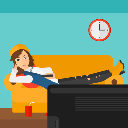 A woman lying on a sofa and watching tv with a remote control in her hand and soda on the floor vector flat design illustration. Square layout. Illustration