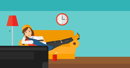 A woman lying on a sofa and watching tv with a remote control in her hand and soda on the floor vector flat design illustration. Horizontal layout. Illustration