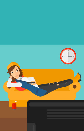 woman watching tv: A woman lying on a sofa and watching tv with a remote control in her hand and soda on the floor vector flat design illustration. Vertical layout.