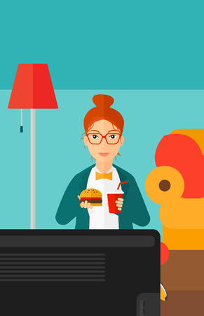 harmful: A woman sitting on the floor in living room while eating hamburger and drinking soda vector flat design illustration. Vertical layout. Illustration